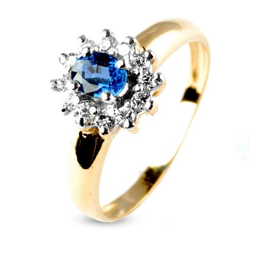 bague or saphir bleu