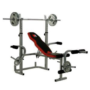 banc de musculation plus barre et poids