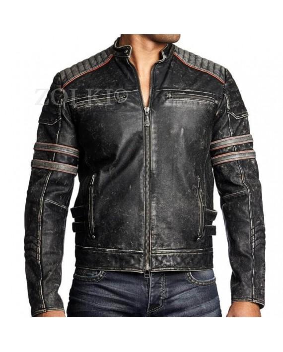 4LIMIT Sports Blouson Moto Streetbandit Biker Veste en Cuir Taille XL Noir