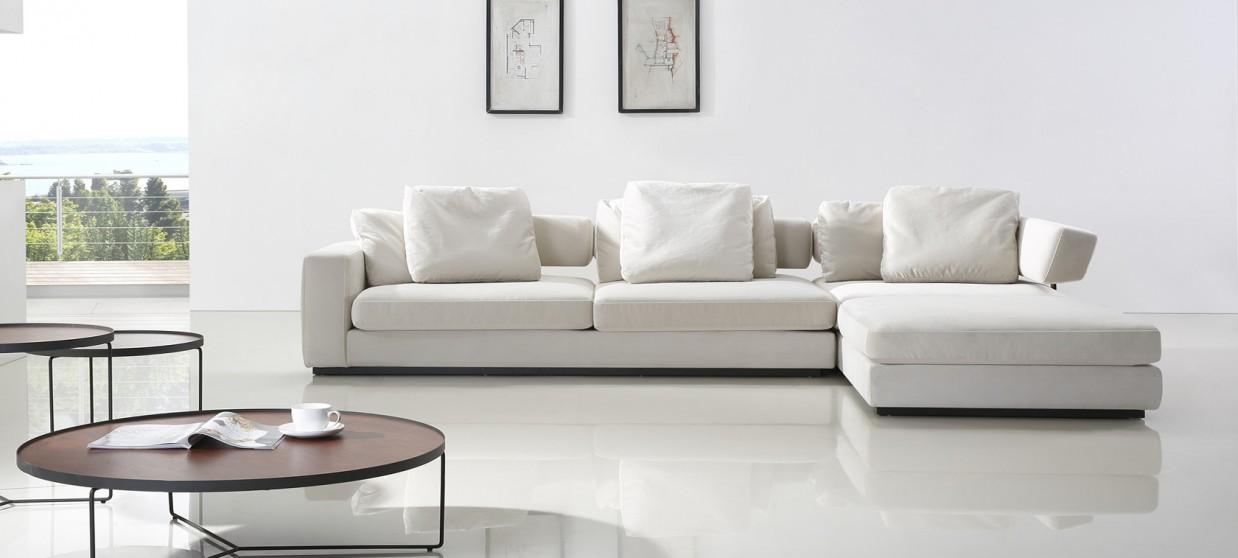 canapé blanc tissu