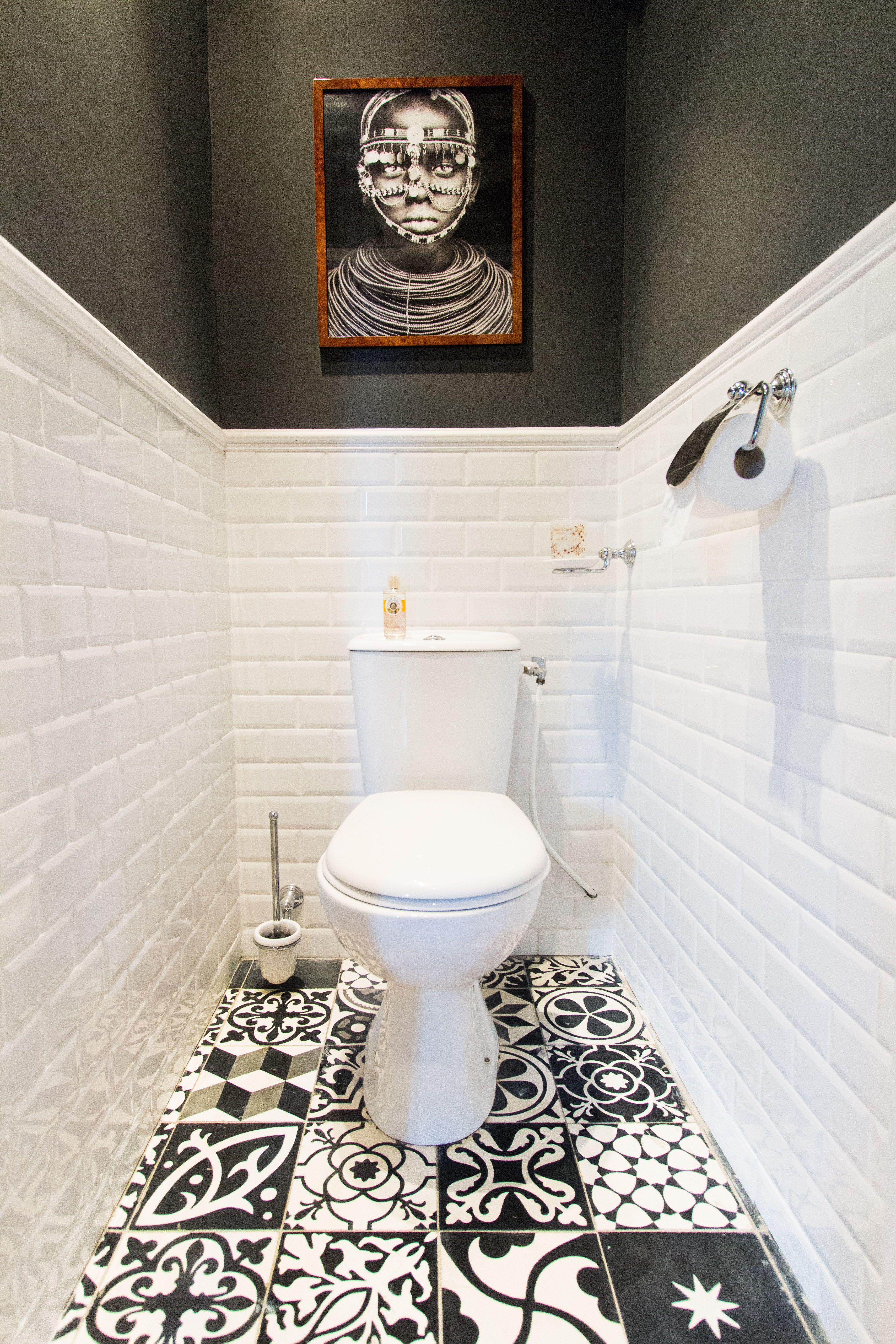 decoration toilette noir et blanc