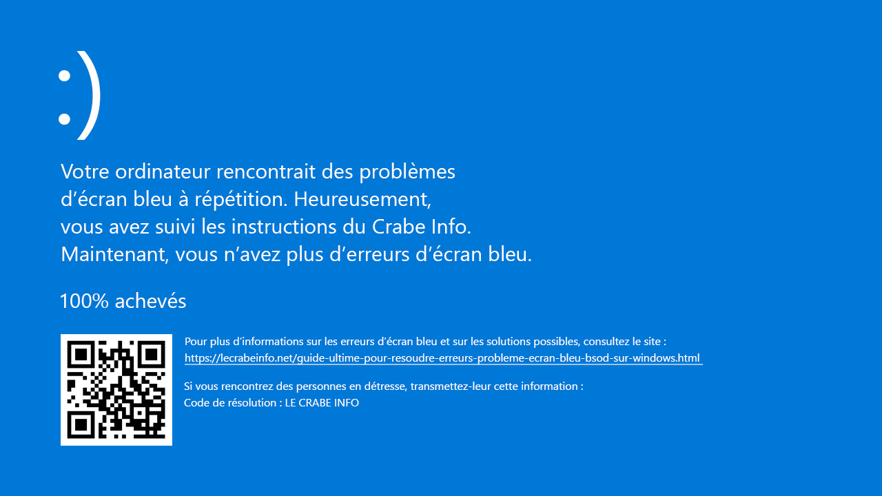 ecran bleu windows 7