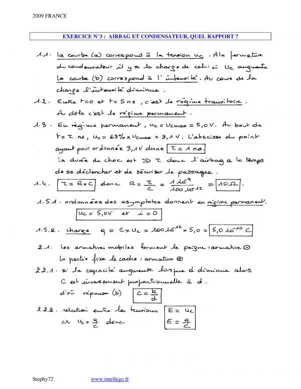 exercices corrigés physique chimie terminale s