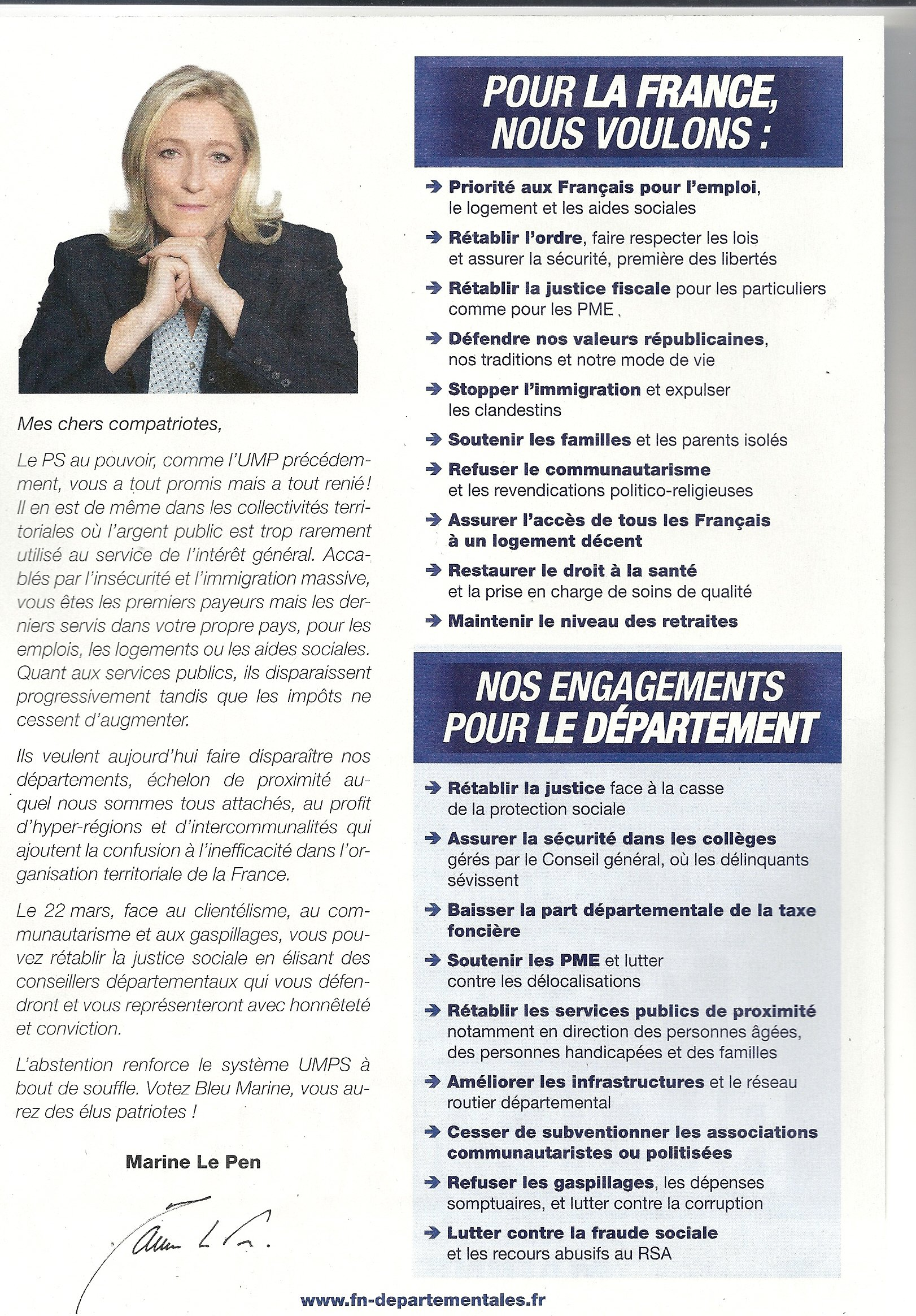 front national programme