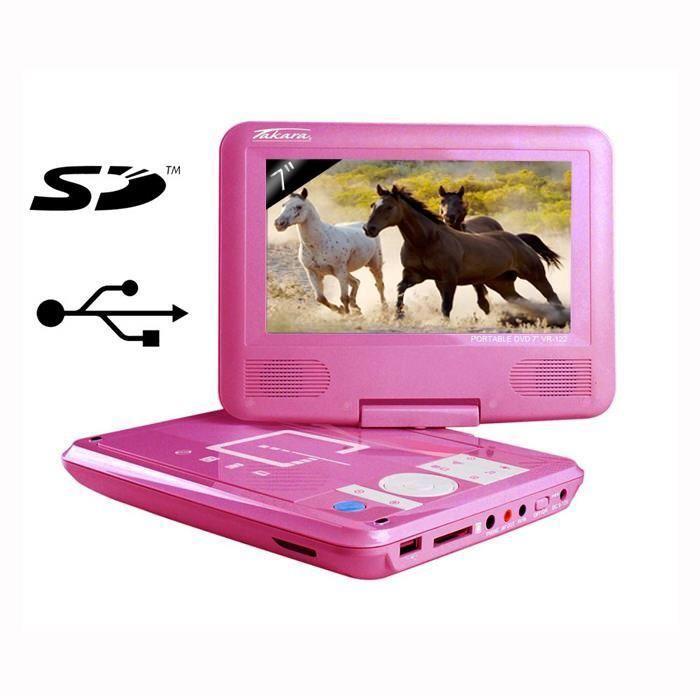 lecteur dvd portable rose