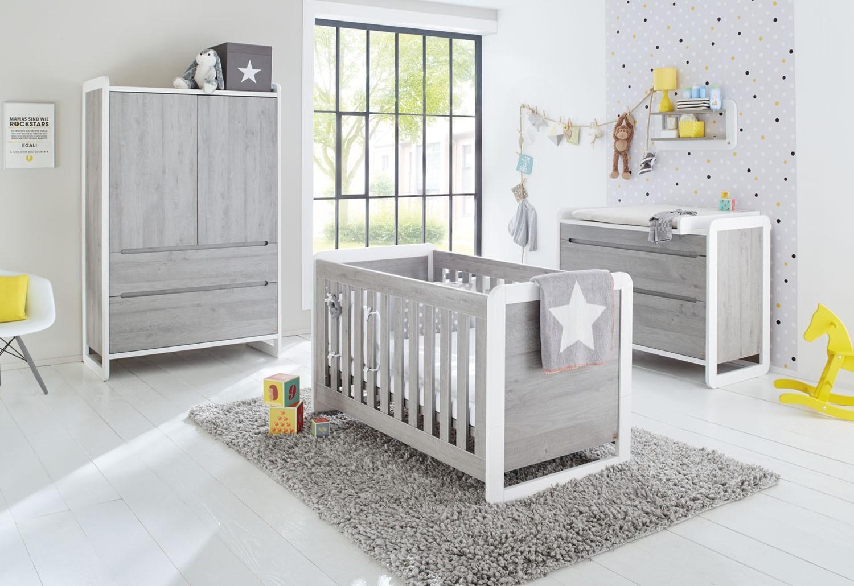 lit bebe gris et blanc