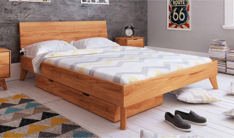 lit en bois massif avec rangement