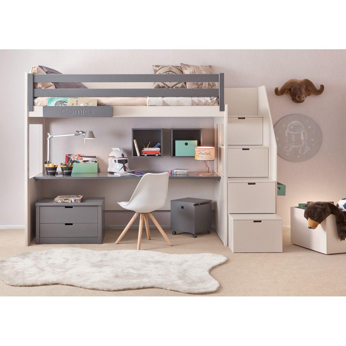 lit mezzanine enfant avec bureau