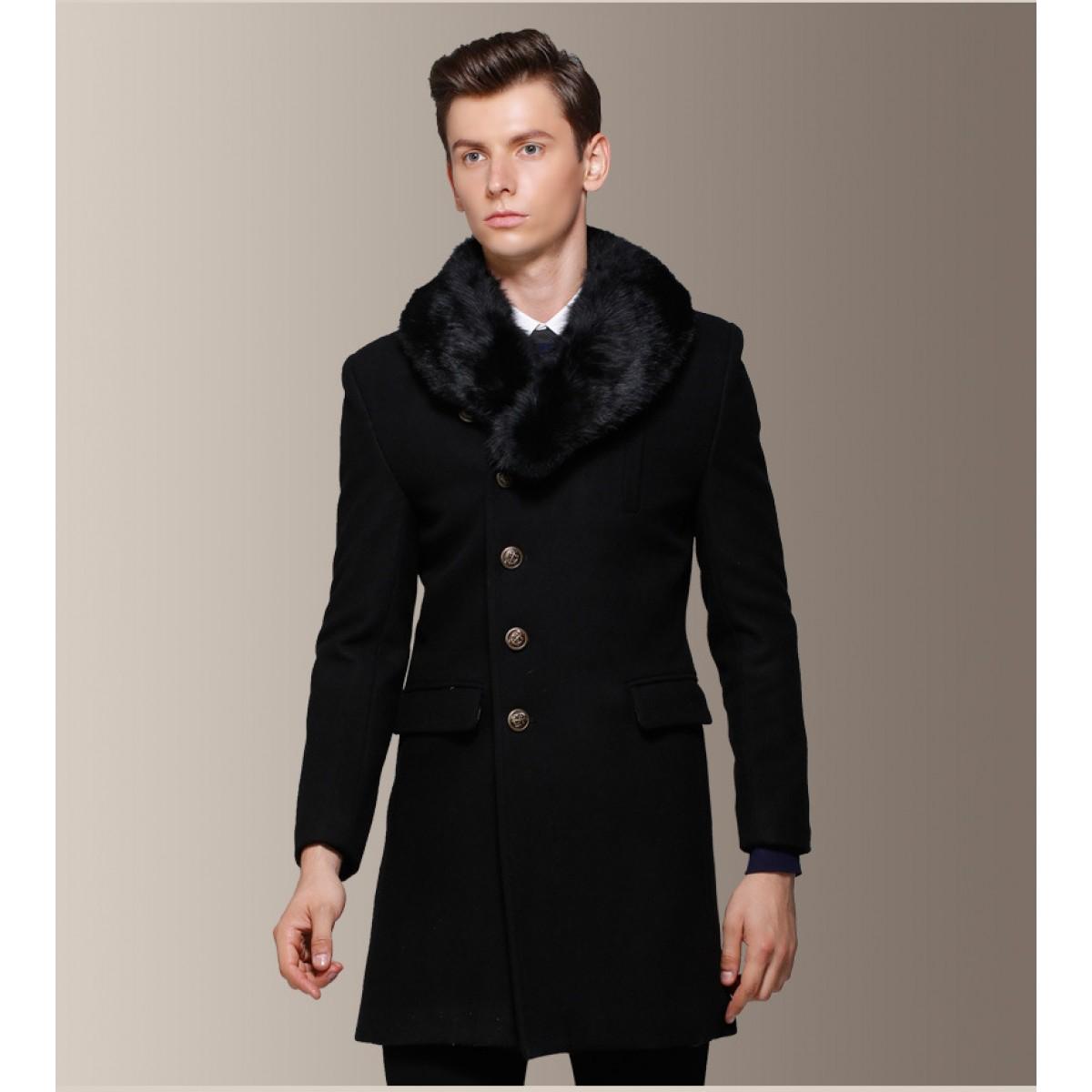 manteau homme avec col fourrure