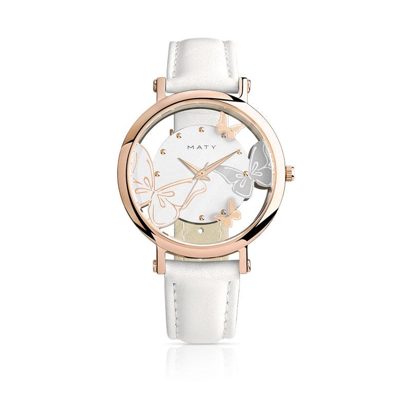 montre bracelet cuir blanc femme