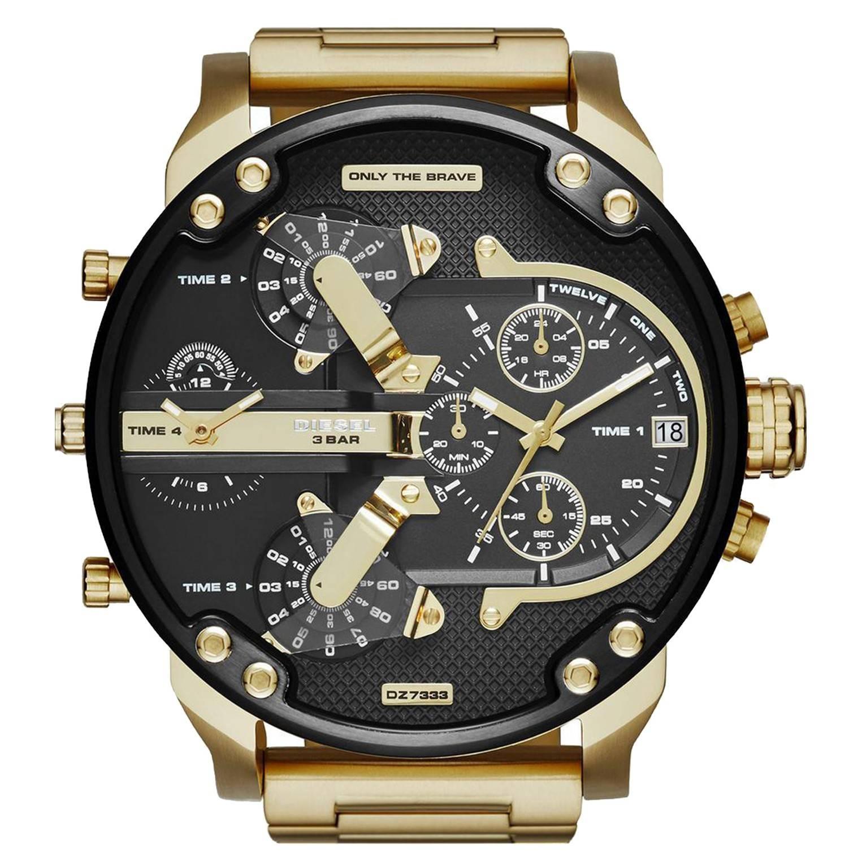 montre diesel noir et or