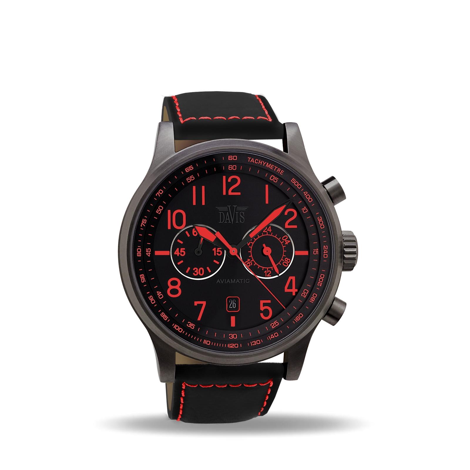 montre homme rouge et noir