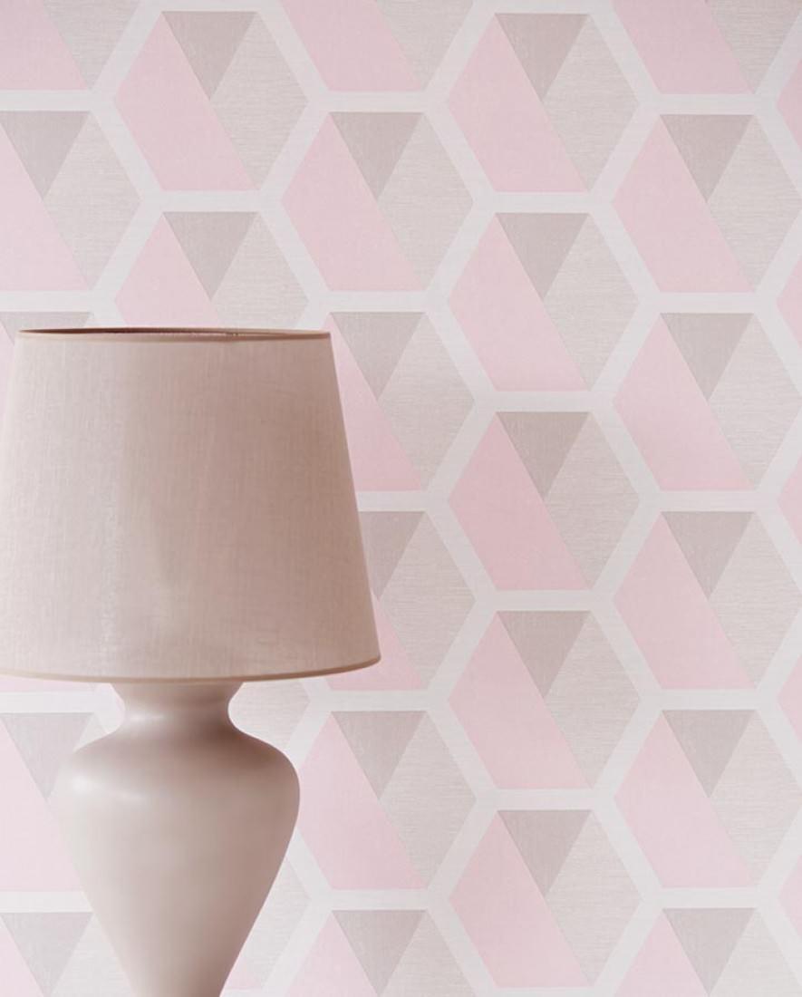 papier peint gris et rose