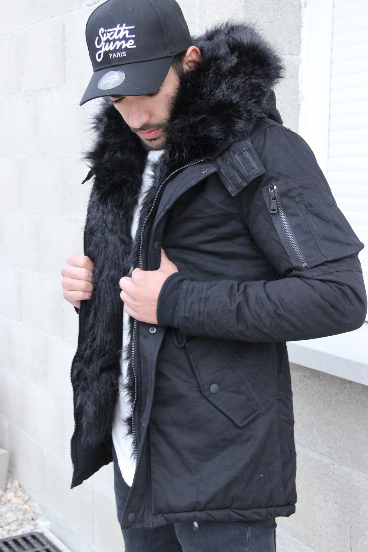 parka homme fourrure noir