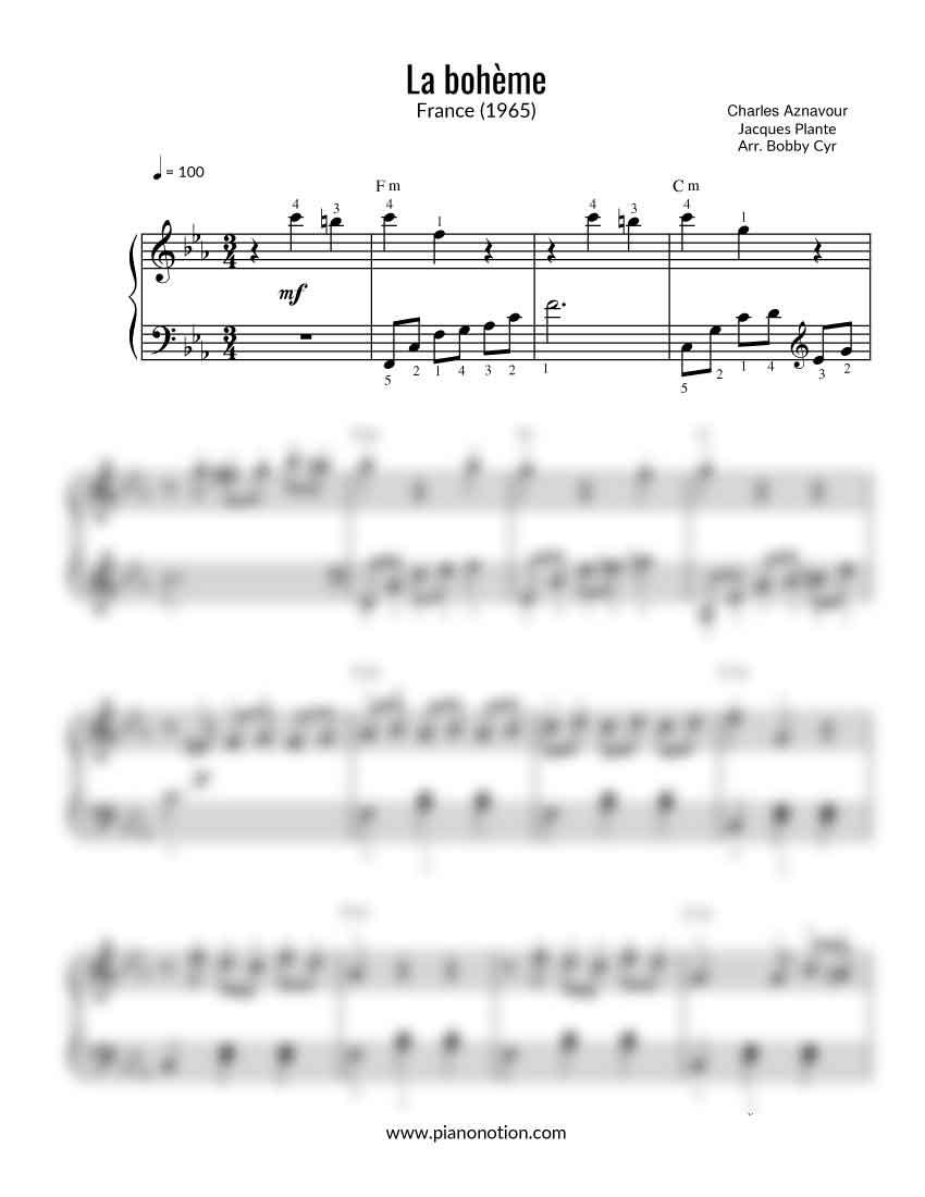 partition piano facile