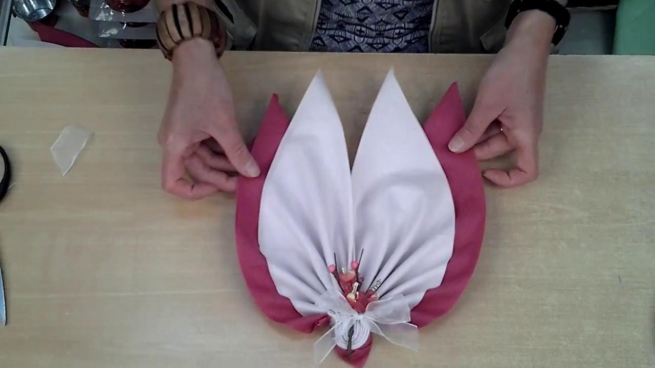 pliage serviette double feuille