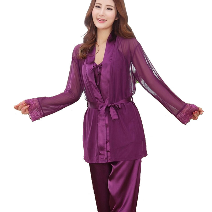 pyjama satin femme 3 pieces