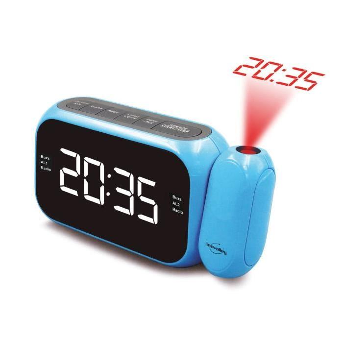 radio reveil projecteur bleu