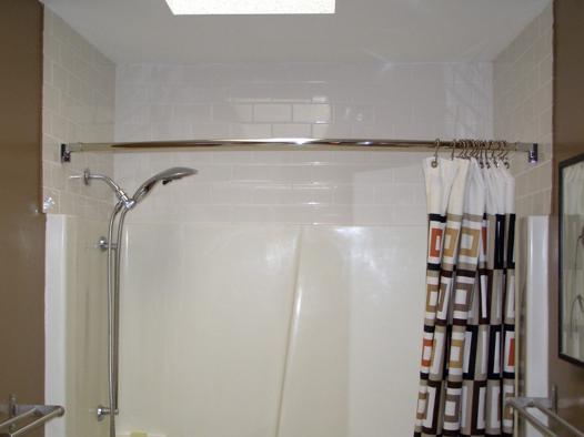 rideau de douche avec barre