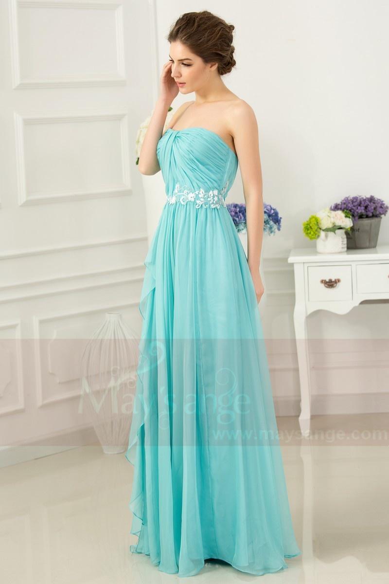 robe de soirée longue turquoise