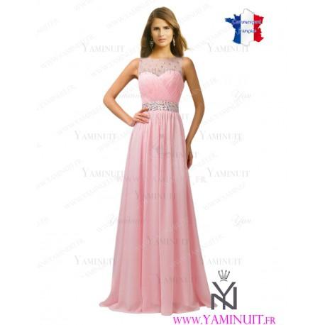 robe demoiselle d'honneur longue rose