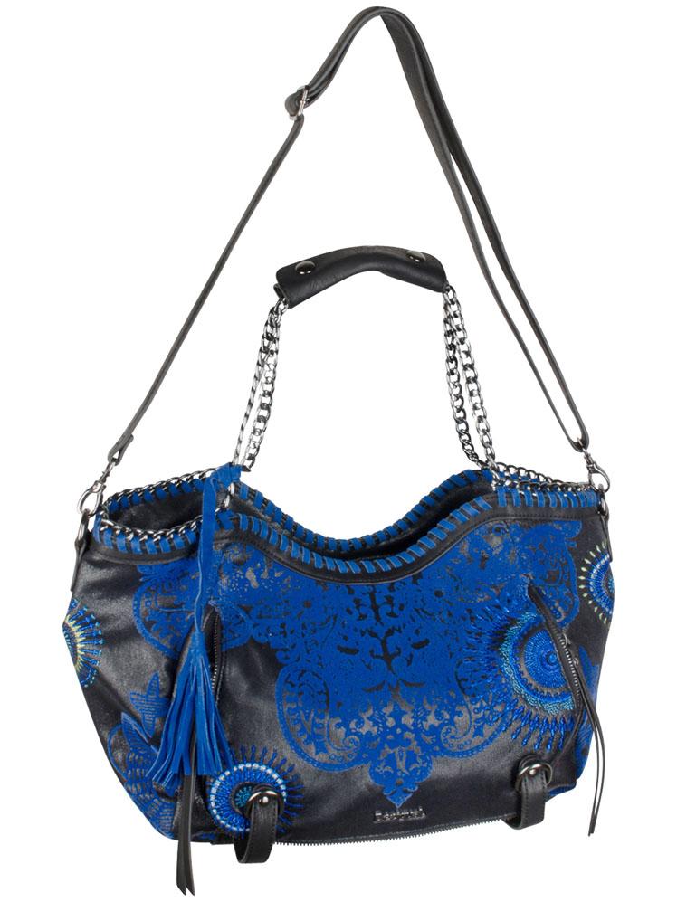 sac desigual bleu et noir