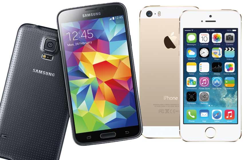 samsung s5 et iphone 5s
