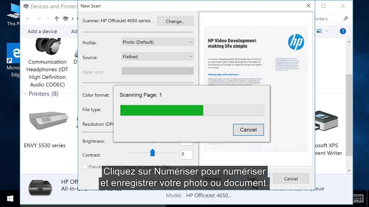scanner un document avec imprimante hp