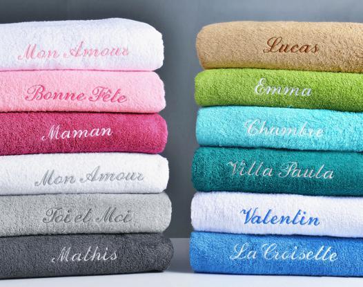 serviette de toilette avec prénom brodé