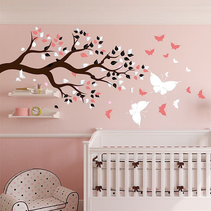 stickers chambre bébé fille arbre