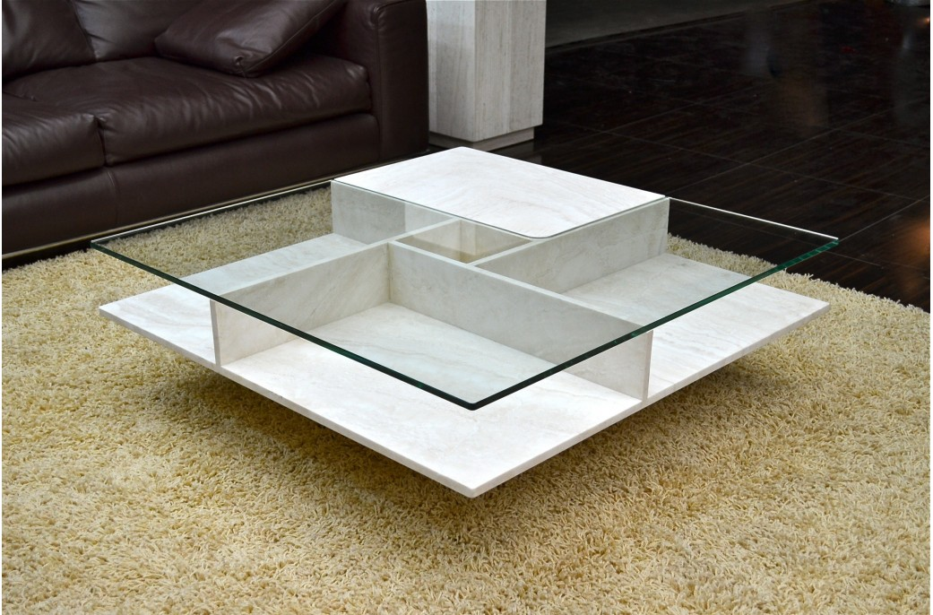 table basse en pierre et verre
