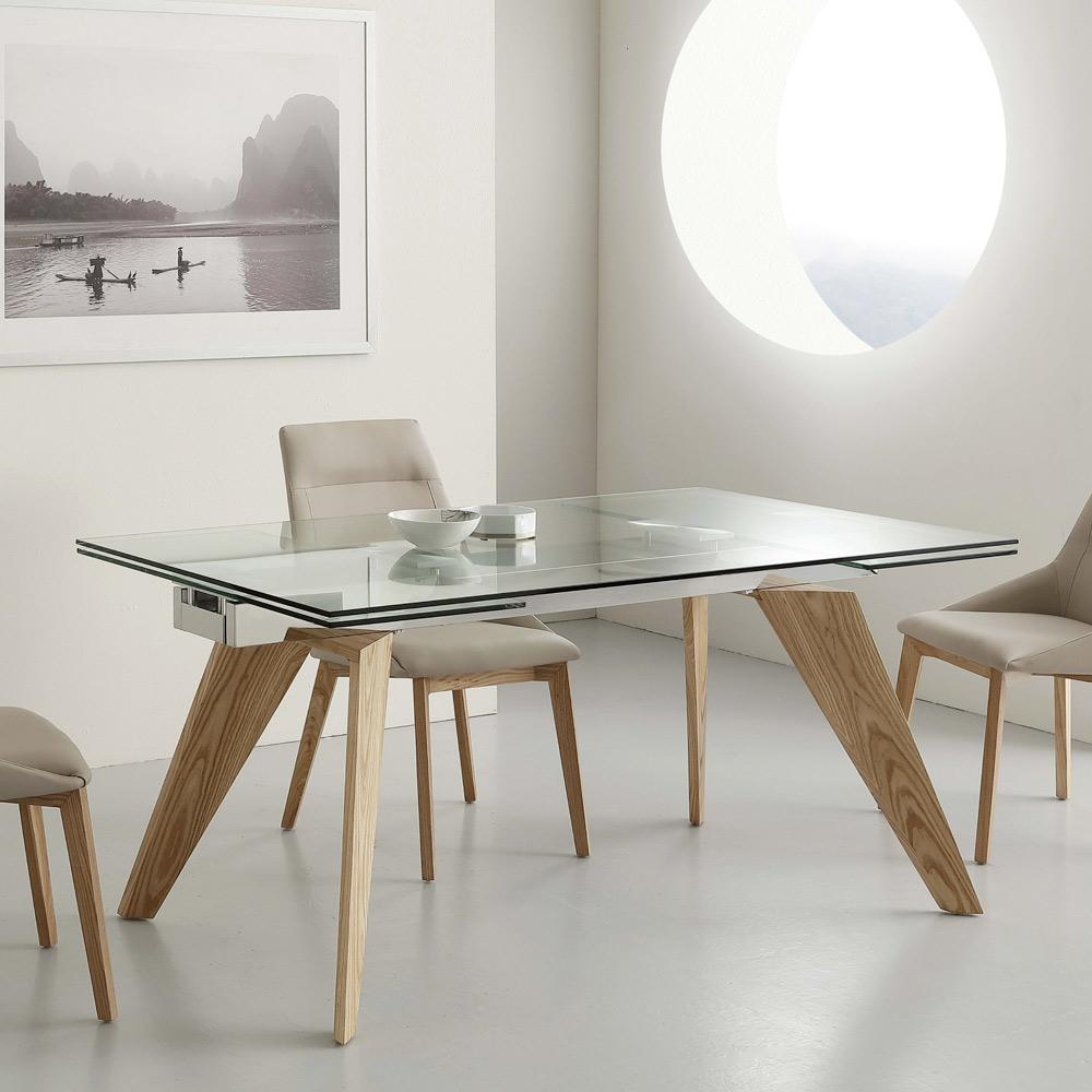 table en verre extensible